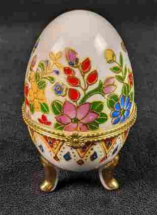 Vintage Cloisonne Gold Painted Egg Shaped Hinged