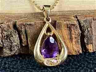 Vintage 14K Gold Amethyst & Diamond Pendant Necklace