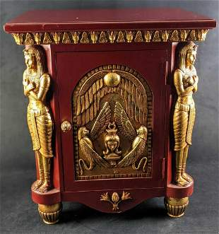 Rare Vintage Egyptian Themed Wooden Nightstand