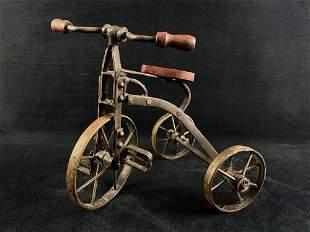 Antique Sales Men's Sample Iron & Wood Tricycle