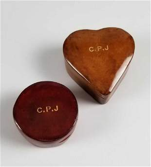 Leather Round and Heart Trinket Boxes Italian