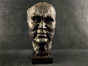 Signed Original Handmade Painted Plaster Man's Bust