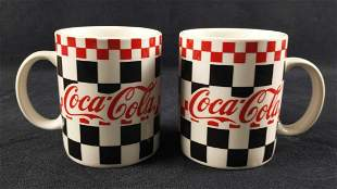 2 Gibson Housewares Coca Cola Checker Diner Mugs