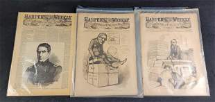 Antique Harpers Weekly Newspaper 1861 to 1876 Lot of 3