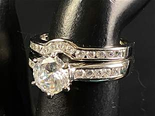 New 2pc White Gold Plated CZ Engagement Set Rings