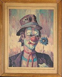 Framed Vintage Hobo Clown With Flower Print