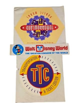 Three Disney Decal Bumper Stickers Mickey Tomorrowland