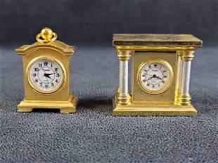 Gold Tone Minature Table or Desk Clock