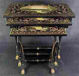 Three Vintage Hand Painted TV Tray Tables