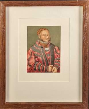 Framed German Nobleman Chromolithograph Print