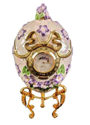 """Franklin Mint Faberge Egg Clock """"Violets in the Snow"""""""