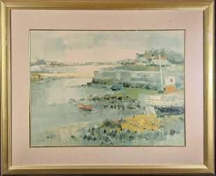 "Framed Louis Rayne ""Little Harbor in Brittany"""