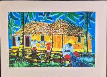 Luis Mendes Batik Fabric Art Print Village