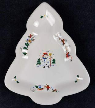 Pfaltzgraff Christmas Tree Shaped Candy Dish Plate