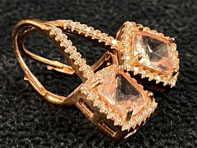 Rose Gold Plated Sterling Pink Quartz White Sapphire
