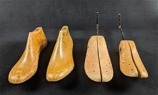 Wooden Vintage Shoe Trees Lot Of Four