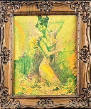 Framed Original Oil On Canvas Green Garden Nymph