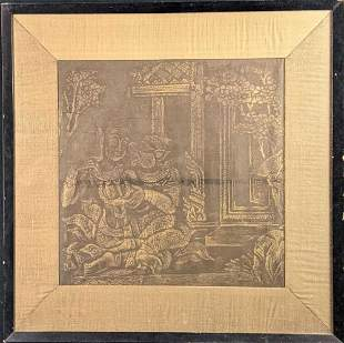 Vintage Framed Thai Temple Rubbing Demon Goddess