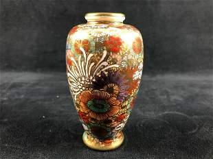 """Antique Miillie Fleur Japanese Satuma porcelain 5"""" Vase"""