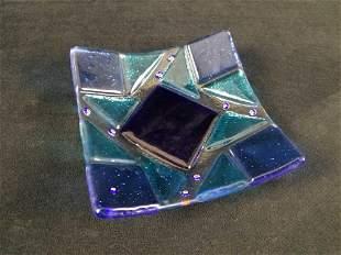 Blue Art Deco Decorative Glass Plate