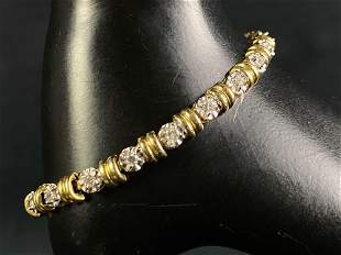 Vintage 14K Gold .72 TCW Diamond Tennis Bracelet