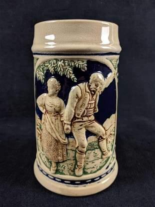 Vintage German Stoneware Handpainted Beer Stein