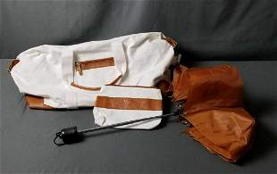 White Canvas Tote with Faux Leather Trim