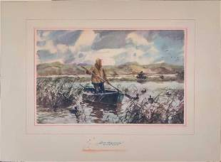 John Whorf Watercolor Print Here They Come Ducks
