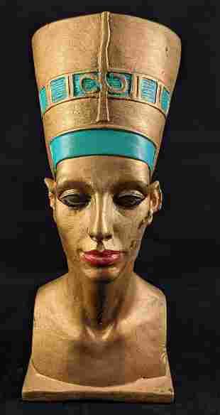 Vintage Hand Painted Ceramic Nefertiti Bust