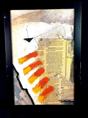 Abstract Canvas Print Art Newspaper and Paint Stripes