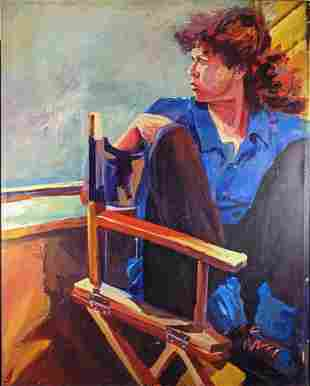 Original Large Kathleen Malin Oil On Canvas Self
