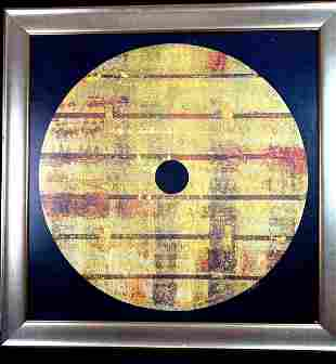 Large Abstract Art on Board w/Gold, Rust, Brown Accents