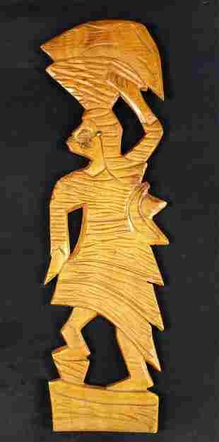 Haitian Hand Carved Wood Flat Sculpture Basket Woman