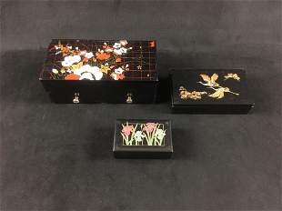 Lot of 3 Plastic Jewelry Boxes Finished in Traditional