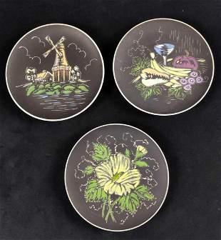 Three Japanese Enesco Hand Painted Black Plates