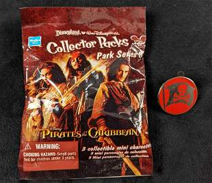 Disney Pirates Of The Caribbean Pin And Mini Figure Lot