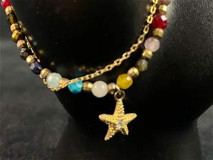 Vintage Natural Beaded Gold Plated Sterling Multi