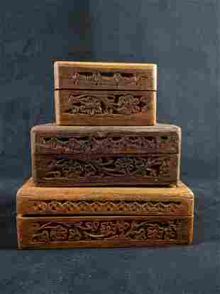 Wood Floral Trinket Boxes lot of 3