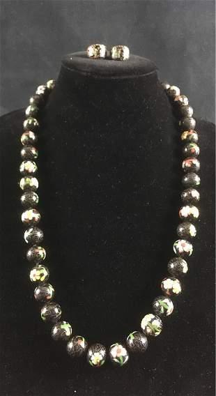 Vintage Black Cloisonne Beaded Necklace and Earring Set