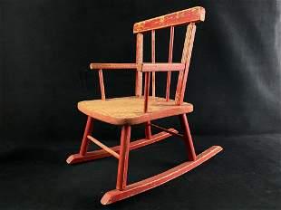 Vintage Red Toddler / Kids Wood Rocking Chair