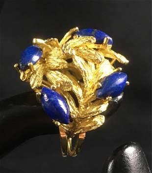 Vintage 18k Gold Lapis Lazuli Ring