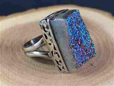 Vintage Druzy Quartz Sterling Silver Ring