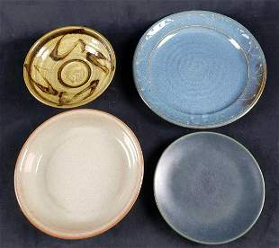 Lot of 4 Stoneware Style Pottery Plates