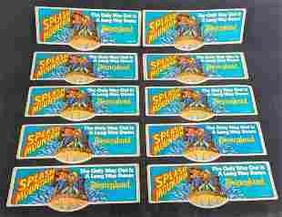 Ten Vintage Disneyland Splash Mountain Bumper Stickers