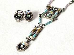 Vintage Pewter Multi Stone Necklace & Earrings Set