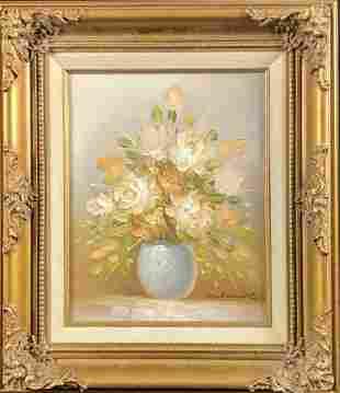 Framed Oil On Canvas Original Floral Rose Painting