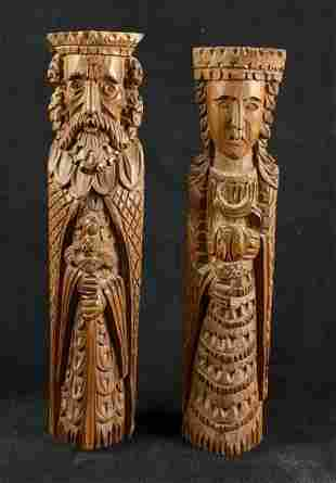 Vintage Hand Carved King and Queen Wood Figures