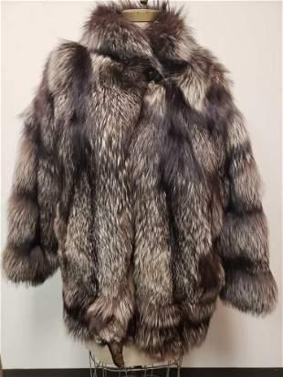 Silver Fox Fur Coat with Head