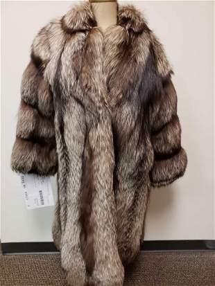 Full Length Silver Fox Fur Coat