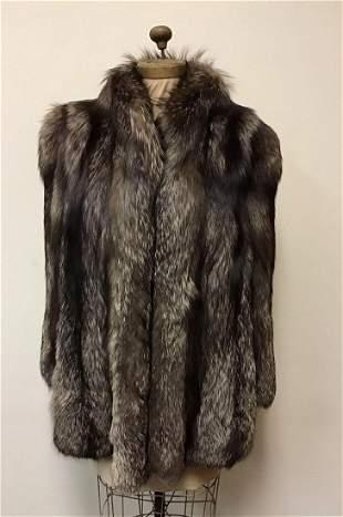 Oxidized Silver Fox Fur Coat
